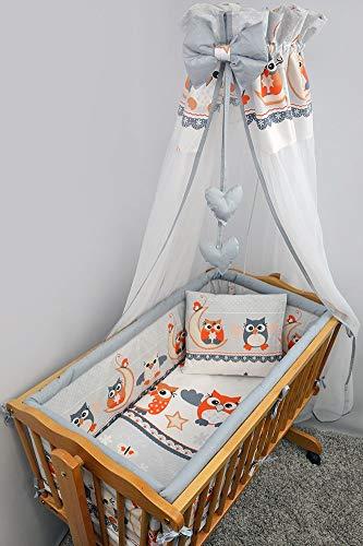 10 Piece Kids Bedding Set with Bumper Fits 90 x 40 cm Newborn Baby Crib Cradle Blue