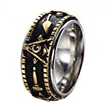 Rinspyre Men's Stainless Steel Vintage Spinner Freemason Masonic Ring Gold Plated Size 7