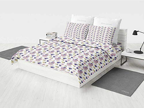 KaithLong Jellyfish Twin Girls Bedding Set Aquarium Nature Underwater Life Colorful Illustration with Jellyfish Starfish Coral Printing Four Pieces of Bedding Set Yellow Purple