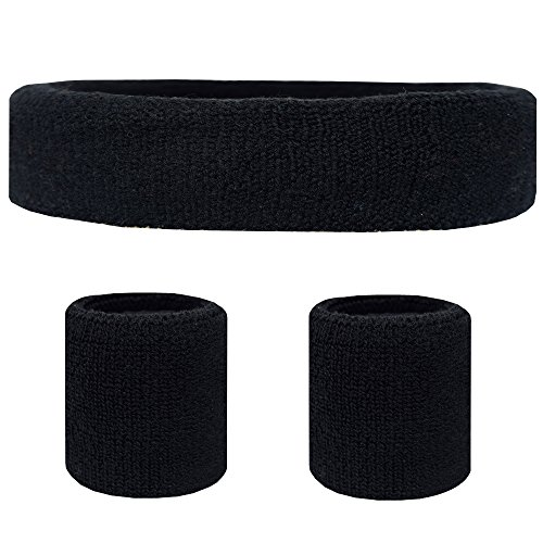 (Favofit Sweatband Set [3 Pack] - Including Headband and Wristbands for Women Men and Kids- Perfect for Running Cycling Tennis Football Basketball and All)