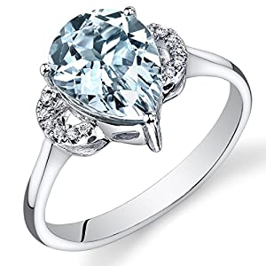 Peora Aquamarine Diamond Engagement Ring in 14K White Gold, 10x8mm Pear Shape, 2.05 Carats total, Comfort Fit