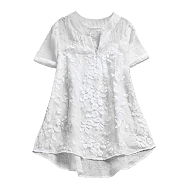 buy popular a878d e655f Longra T-Shirts Damen Vintage Boho Baumwoll Leinen Tunika Blusen mit Spitze  Bluseshirt Hemdblusen Damen Sommer Tops Kurzarm T-Shirt Spitzenshirts ...