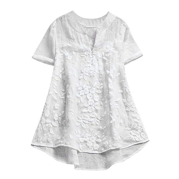9f5c14744 YEBIRAL Camisa de Verano Mujer Manga Corta Cuello en V de Lino Suelto de  Color SóLido Encaje Casual para Mujer Blusas Casual Elegantes