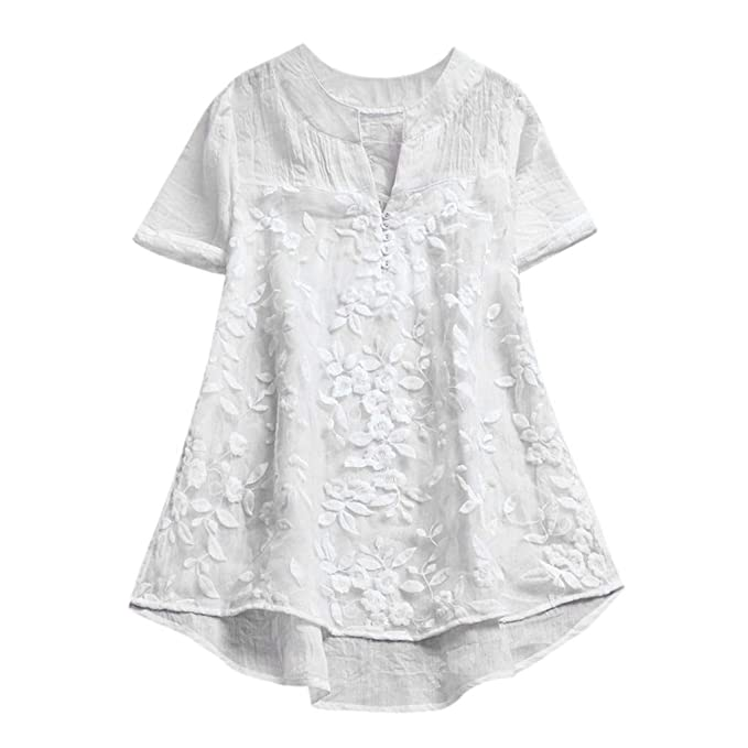 new release sale usa online crazy price Women's Linen Tunic Blouse Women's Flower Embroidery Lace ...