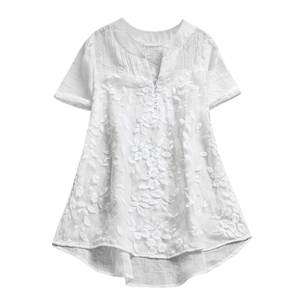 Womens Cotton Linen Blouse Solid Button Lace Stitching Short Sleeve Shirt Tops White