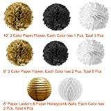 Paxcoo 73 Pcs Black and Gold Party Decorations with Balloons Paper Lanterns and Paper Pom Poms for Happy New Year Party New Years Eve Party 20st, 30th, 40th, 50th, 60th, 70th,75th, 80th Birthday