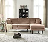 Mid-Century Modern Brush Microfiber Sectional Sofa, L-Shape Couch with...
