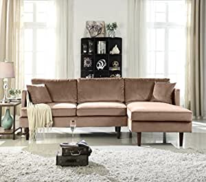 Mid-Century Modern Brush Microfiber Sectional Sofa, L-Shape Couch with  Extra Wide Chaise Lounge (Hazelnut)