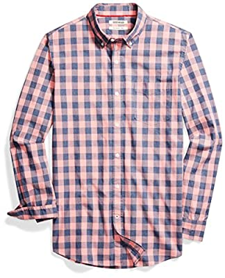 Amazon Brand - Goodthreads Men's Slim-Fit Long-Sleeve Gingham Plaid Poplin Shirt