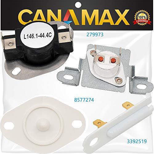 279973 & 3392519 & 8577274 Dryer Thermal Cut-off Fuse Complete Kit Premium Replacement by Canamax - Compatible with Whirlpool Kenmore Dryers ()