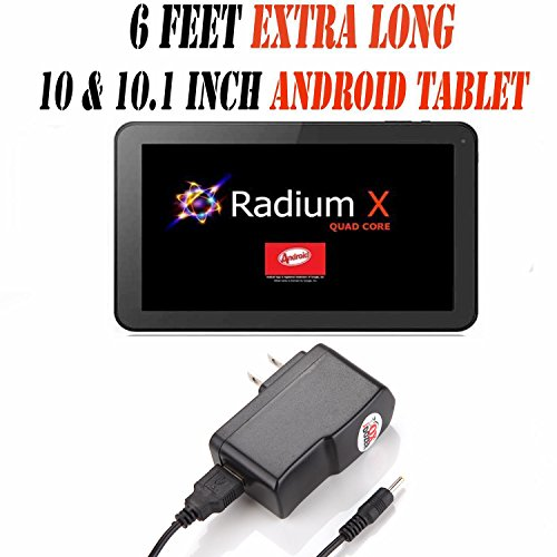 6 Feet Ac/dc Charger Adapter (6h) for 10.1 Inch Android Tablet Pc Wall Fits (Pumpkin X Radium X 10.1