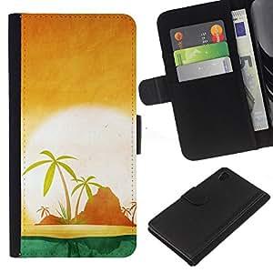 A-type (Atardecer minimalista Beach Island) Colorida Impresión Funda Cuero Monedero Caja Bolsa Cubierta Caja Piel Card Slots Para Sony Xperia Z4v / Sony Xperia Z4 / E6508