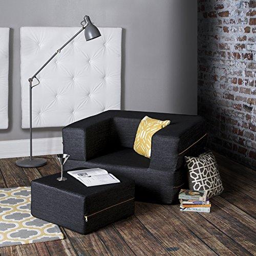 Jaxx Denim Zipline Sleeper Chair & Ottoman, Black