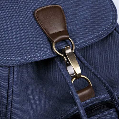 Donna Nero Zaino Corda Backpack Viaggio Grandi In Fibbia Per Scuola Tela Lavoro Kaki Cerniera Daypack A Zainetto Marrone Casuale Blu qE7nqZaxr