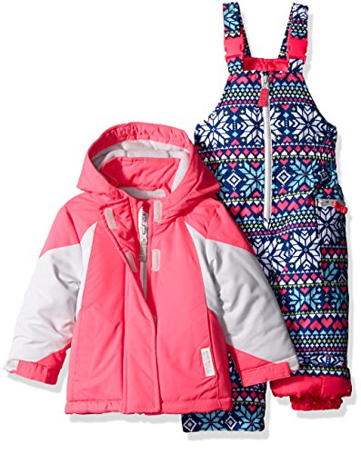 Carter's Baby Girls' Infant Color Block Active 2 Pc Snowsuit with Print Pant, Pink, 18M