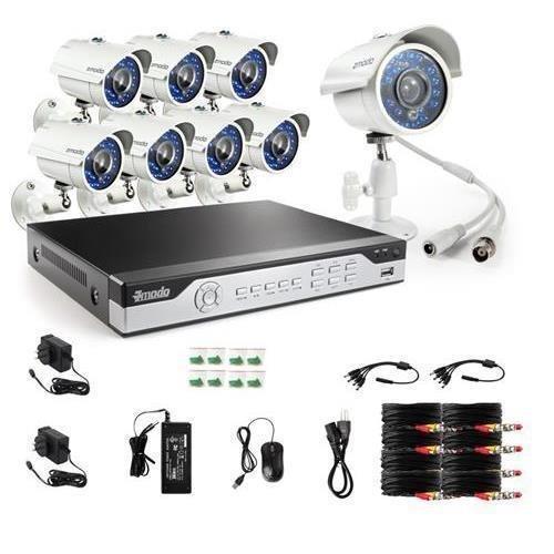 Zmodo 700TVL Videoüberwachung Set Überwachungssystem 8CH 960H/D1 DVR mit 8 Höhe Auflösung Nachtsicht Wetterfeste IR-Cut eingebaut CCTV Überwachungskameras HDMI Anschluss Ohne Festplatte