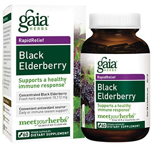 Gaia Herbs Black Elderberry, Vegan Powder Capsules, 60 Count - Made with Organic Sambucus Elderberry Extract for Daily Immune and Antioxidant Support