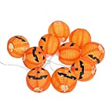 Weite Set of 10 Halloween 3D Energy-Saving Pumpkin String Lights, Battery-Powered Indoor LED Light Lantern for Festival Party Decor(4ft) (Yellow)