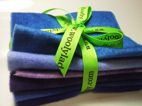 WoolyLady Lavender Blue 100% Hand Dyed Felted Wool Fabric 6 Pack - 6'' x 16'' by WoolyLady