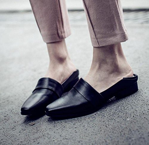 GLTER Sandali Pantofole pantofole folta pantofole fannullone cuoio pelle appartamenti Black sandali bovina Baotou femminile pattini Slip freddo scarpe On degli 11zwgdWqr