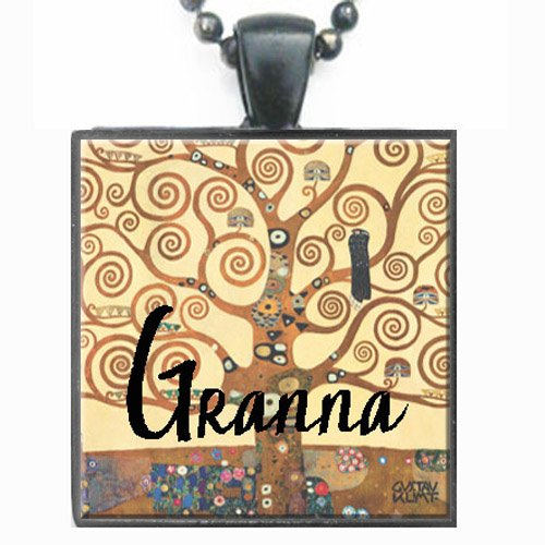 Granna Klimt Tree of Life Glass Tile Black Pendant Necklace W/chain