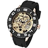 Rougois Skeleton Automatic Mechanical Watch Rose Gold Case and Lugs, Watch Central
