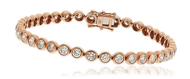 8CT certificado g/VS2 corte brillante redondo Rubover brazalete de tenis de diamantes en 18 K oro Color de rosa
