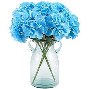Blooming Paradise Artificial Silk Flower Hydrangea Blue 6Heads Fake Flowers Home Decor Wedding Bouquet Fake Floral Centerpieces Arrangements DIY Blue