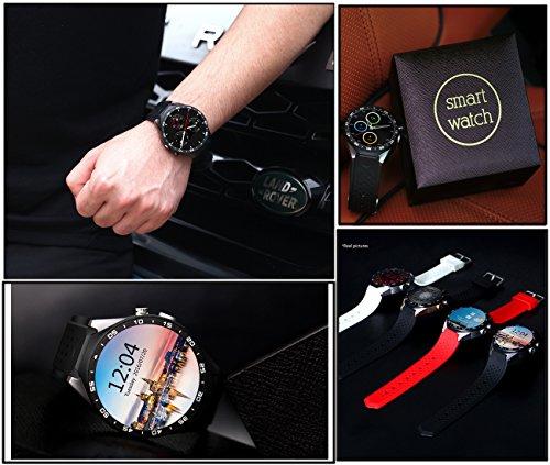 3G Smart Watch, Android 5.1 OS, Quad Core 2.0MP Camera Bluetooth Nano SIM Card Soket WiFi GPS Heart Rate Monitor (Black+Silver) by Kingwear (Image #6)