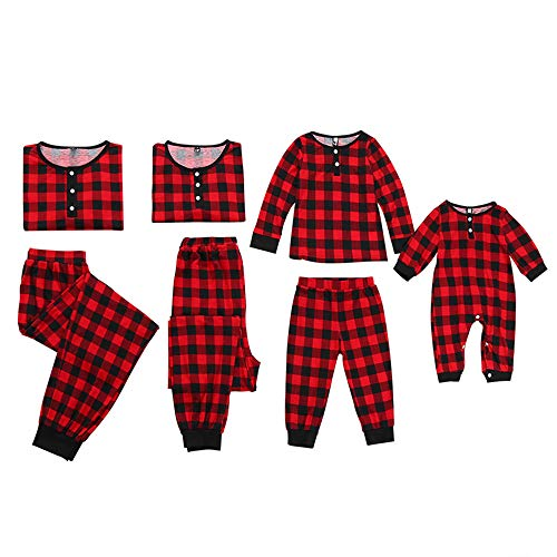 Mommy And Me Christmas Pajamas (Mumetaz Mommy and Me Christmas Plaid Color Block Family Pajamas Set Sleepwear Matching)