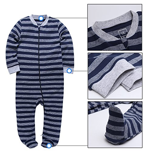 HongLin Footed Pajama Baby Boys Girls Sleeper Long Sleeve 100% Cotton Zip Front Neutral