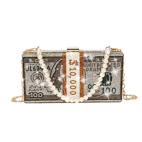 ZOVOTA Dollar Cash Bag Rhinestone Money Shoulder Bag Bill Diamond Clutch Purse Wedding Dinner Handbag
