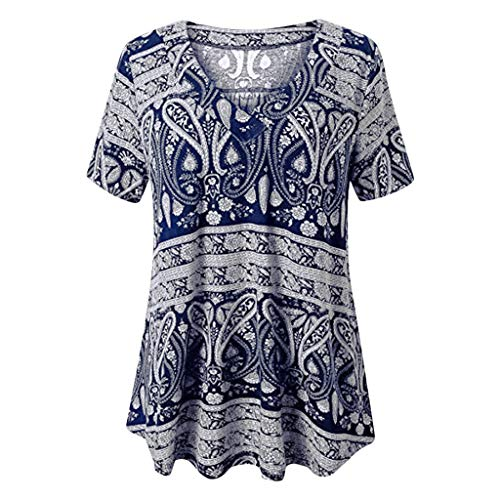 - TANGSen Women's Summer V-Neck Tops Leisure Vintage Loose Short Sleeve Blouses Casual Fashion Print Tunic Tops Navy