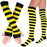 Womens Extra Long Striped Socks(Over Knee High Opaque Stockings ) & Long Arm Warmer Gloves(Punk Gothic Rock) (Black & Yellow, OneSize)