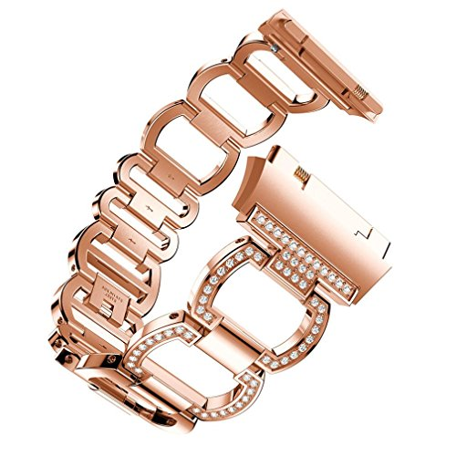 Watch Band for Women Men-Quick Release- Replacement Luxurious Stainless Steel Rubber Watch Band,Aurorax Wrist Band Strap Bracelet for Fitbit Ionic (22mm) (Rose Gold) For Sale