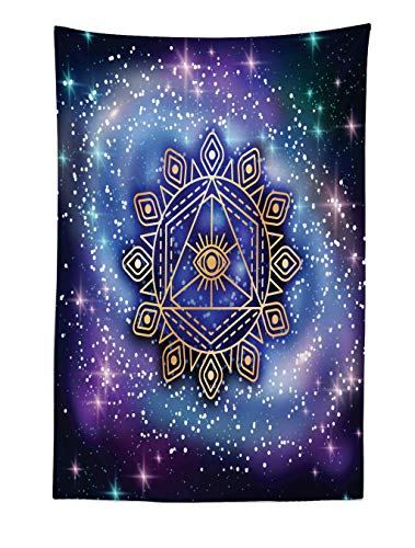 Ambesonne Sacred Geometry Tapestry, Celestial and Terrestrial Harmony of Cosmos Mandala Form on Nebula Art, Fabric Wall Hanging Decor for Bedroom Living Room Dorm, 40 W X 60 L Inches, Multicolor