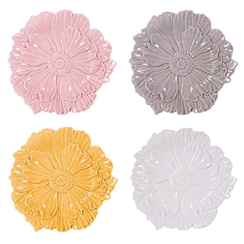 Bloom Round Serving Plate - Savannah Collection, Assorted Canape Plates (Set of 4), Multicolor
