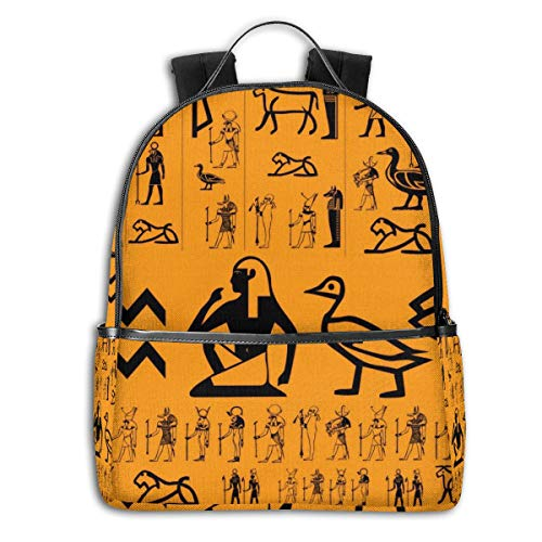 Ancient Egypt Clipart 14.5 Inch Business Laptop Backpack Water Resistant Anti Theft College Knapsack Ultra Thin And Durable Casual Hiking Travel Daypack ()