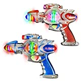 ArtCreativity Space Blaster Laser Gun Set with Flashing LEDs & Sound Effects (Pack of 2)  Cool Futuristic Toy Guns for Kids   Batteries Included   Great Gift Idea for Boys & Girls (Red & Blue)