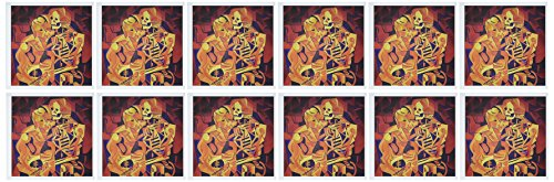 3dRose Kiss Of Death - cubism, halloween, death, bones, fear, red, horror - Greeting Cards, 6 x 6 inches, set of 12 (gc_46724_2)