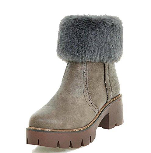 AllhqFashion Damen Rein Weiches Material Mittler Absatz Reißverschluss Rund Zehe Stiefel Grau