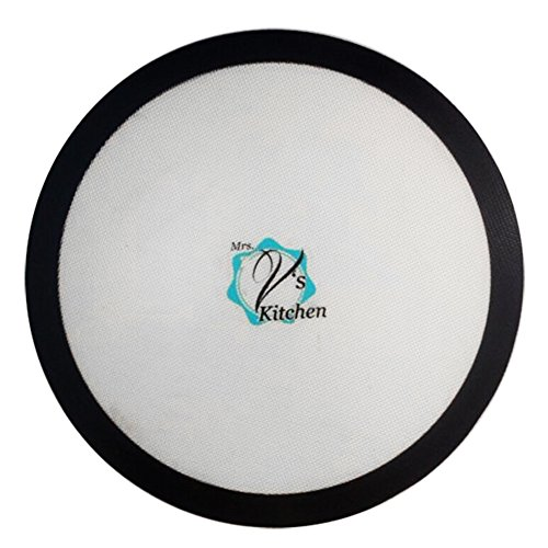 Round 15 Inch Non-Stick Silicone Baking Mat for Pizza Pans Made by Mrs. V's - Mat Baking Microwave