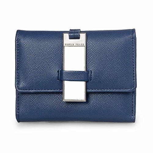 Women Cute Owl Pattern Small Shoulder Bag Blue Faux Leather Cross Body Bag - 5