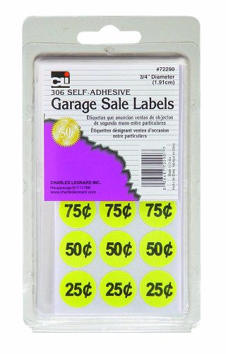 Charles Leonard Garage Sale Price Labels, Blank and Pre Priced Round Self Adhesive Stickers, 3/4 Inch Diameter, Yellow, 306/Box (72290)