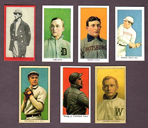 T206 Card (1909 T-206 (7) Card Baseball Reprint Lot featuring (Honus Wagner (Ty Cobb) (Joe Jackson) (Tris Speaker) (Christy Mathewson) (Walter Johnson) (Cy Young))