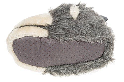 gibra - Zapatillas de estar por casa de tela para niño gris y beige