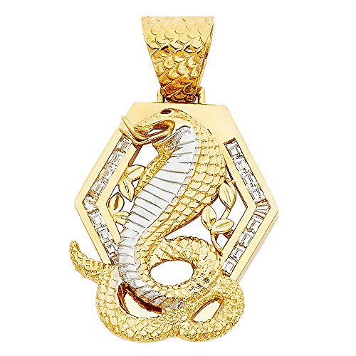 Wellingsale 14K Two 2 Tone White and Yellow Gold Polished Diamond Cut Ornate Viper Cobra Snake Charm Pendant with CZ Accents