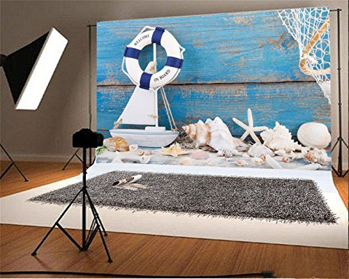 LFEEY 7x5ft Nautical Backdrop Conch Mariner Seafaring Blue Wooden Board Ship Life Buoy Shell Boat Photography Background Kid Baby Infant Boy Artistic Portrait Photoshoot Studio Props Video Drape