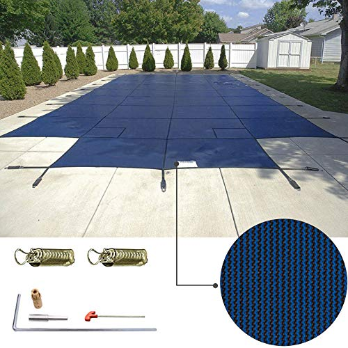 (Happybuy Pool Safety Cover 16'x32' Rectangle Inground Safety Pool Cover Blue Mesh with 4'x8' Center End Steps Solid Pool Safety Cover for Swimming Pool Winter Safety Cover)