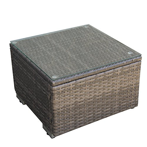 ORNO TTOBE Outdoor Square Wicker Side Table Coffee Table with Glass Top, Square